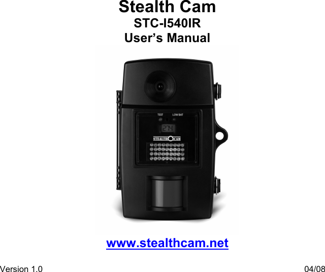 stealth cam stc i540ir users manual manualslib makes it easy to find rh usermanual wiki stealth cam i540ir manual stealth cam stc 1540ir manual