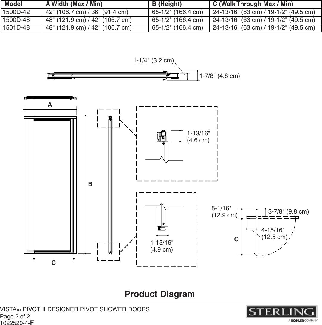 Sterling Plumbing Designer Pivot Shower Doors 1500d Users