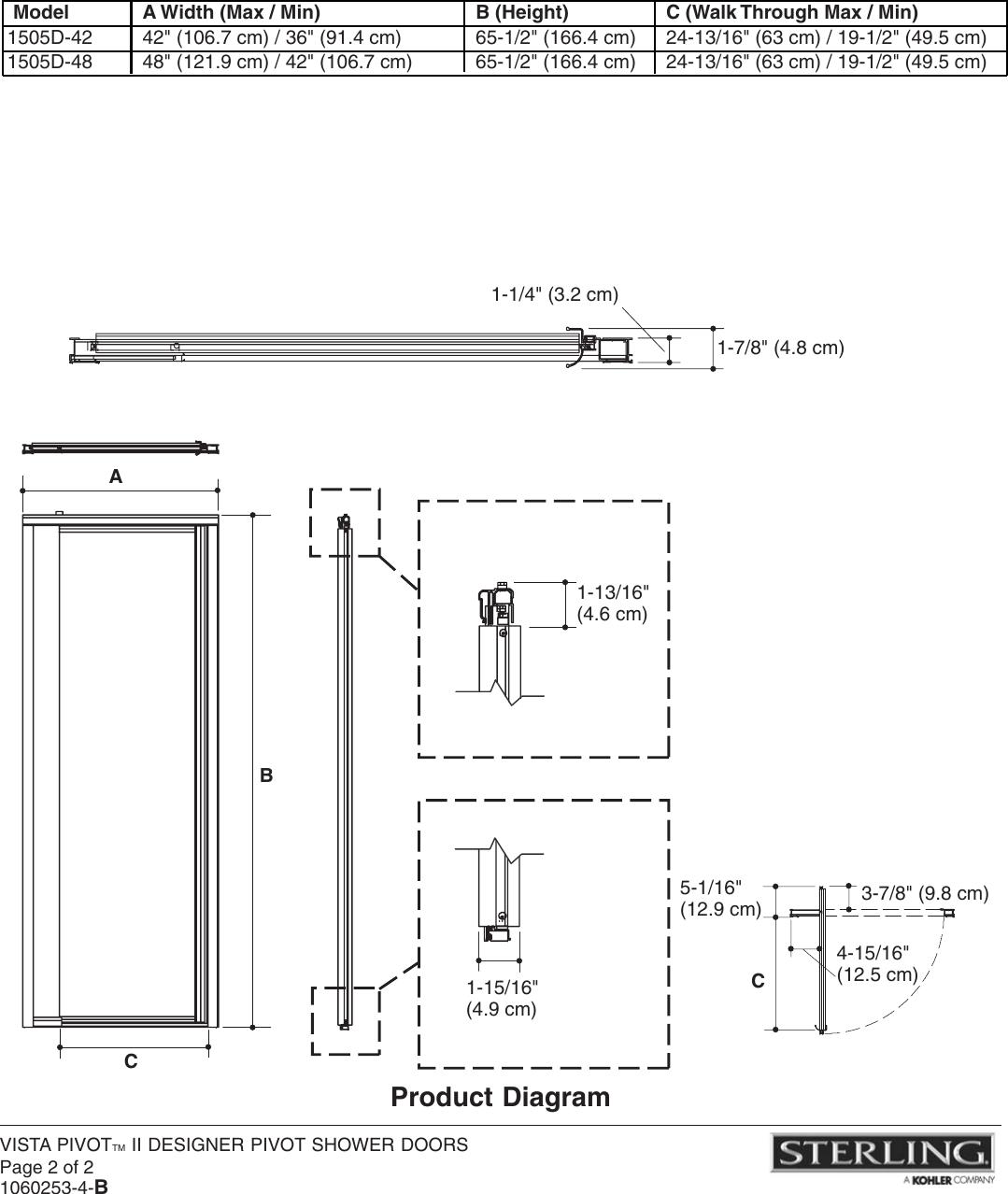 Sterling Plumbing Designer Pivot Shower Doors 1505d 42 Users