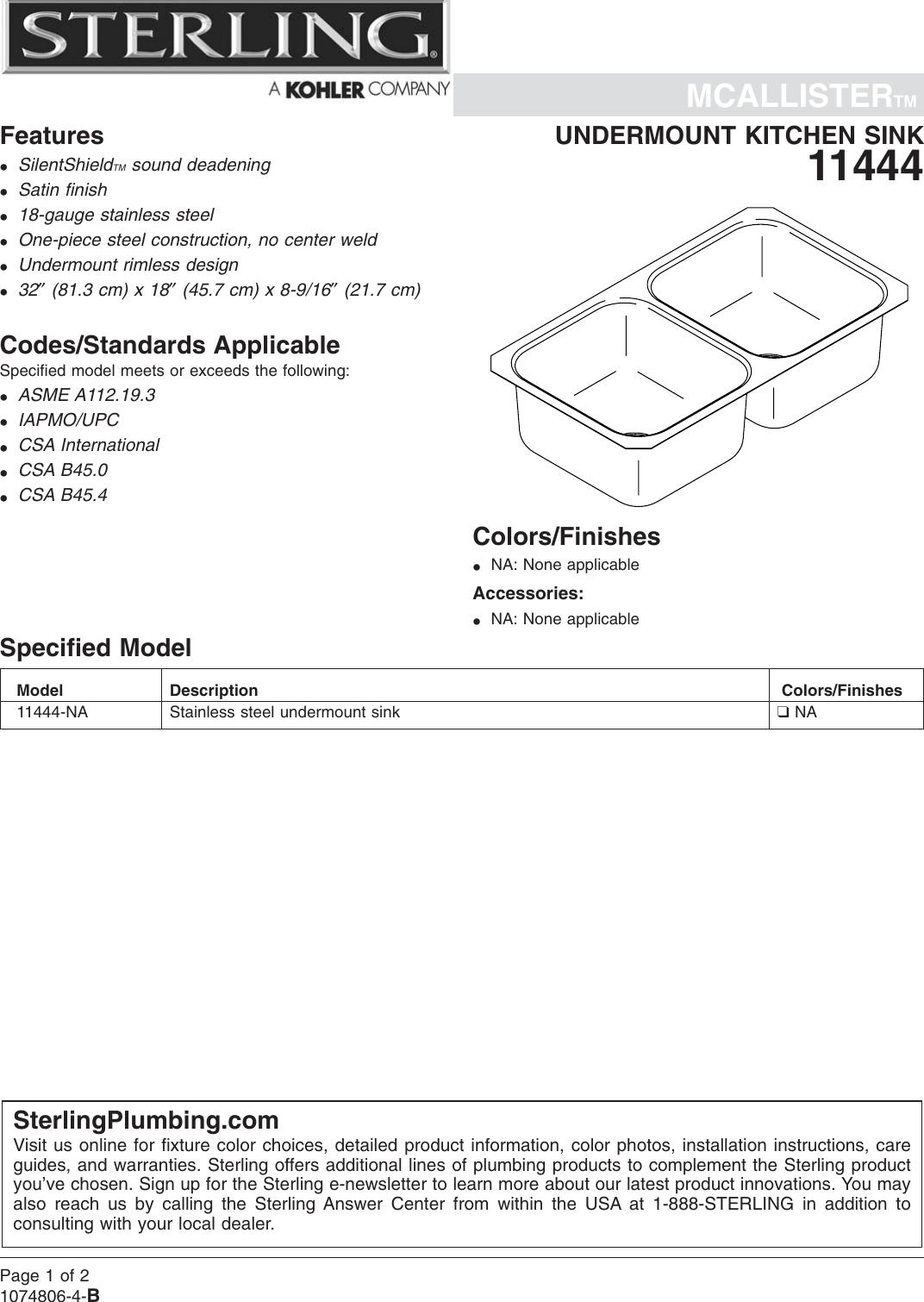 sterling plumbing mcallister 11444 na users manual no job name rh usermanual wiki Gerber Plumbing Gerber Plumbing