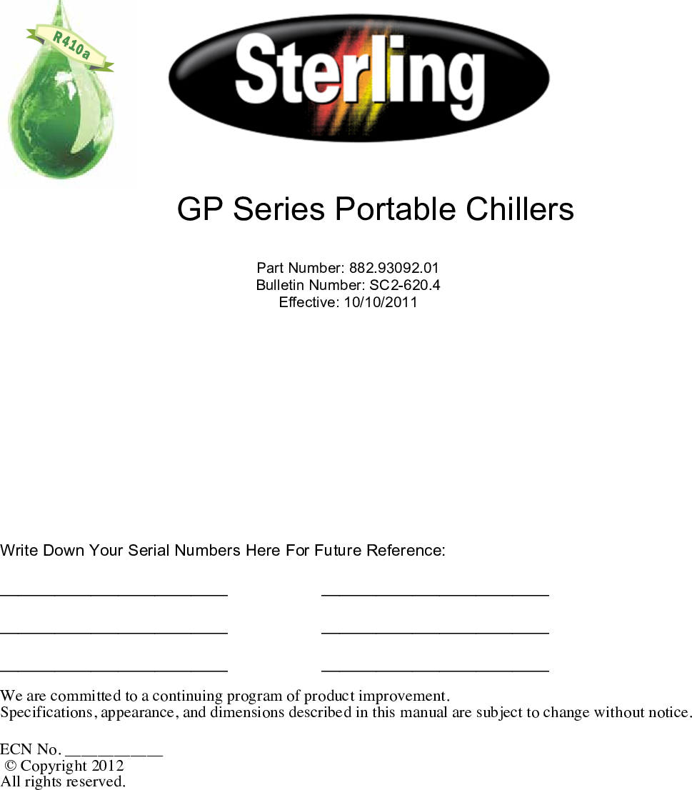 Sterling 882 93092 01 SC2 620 4 Stelring GP Series Portable