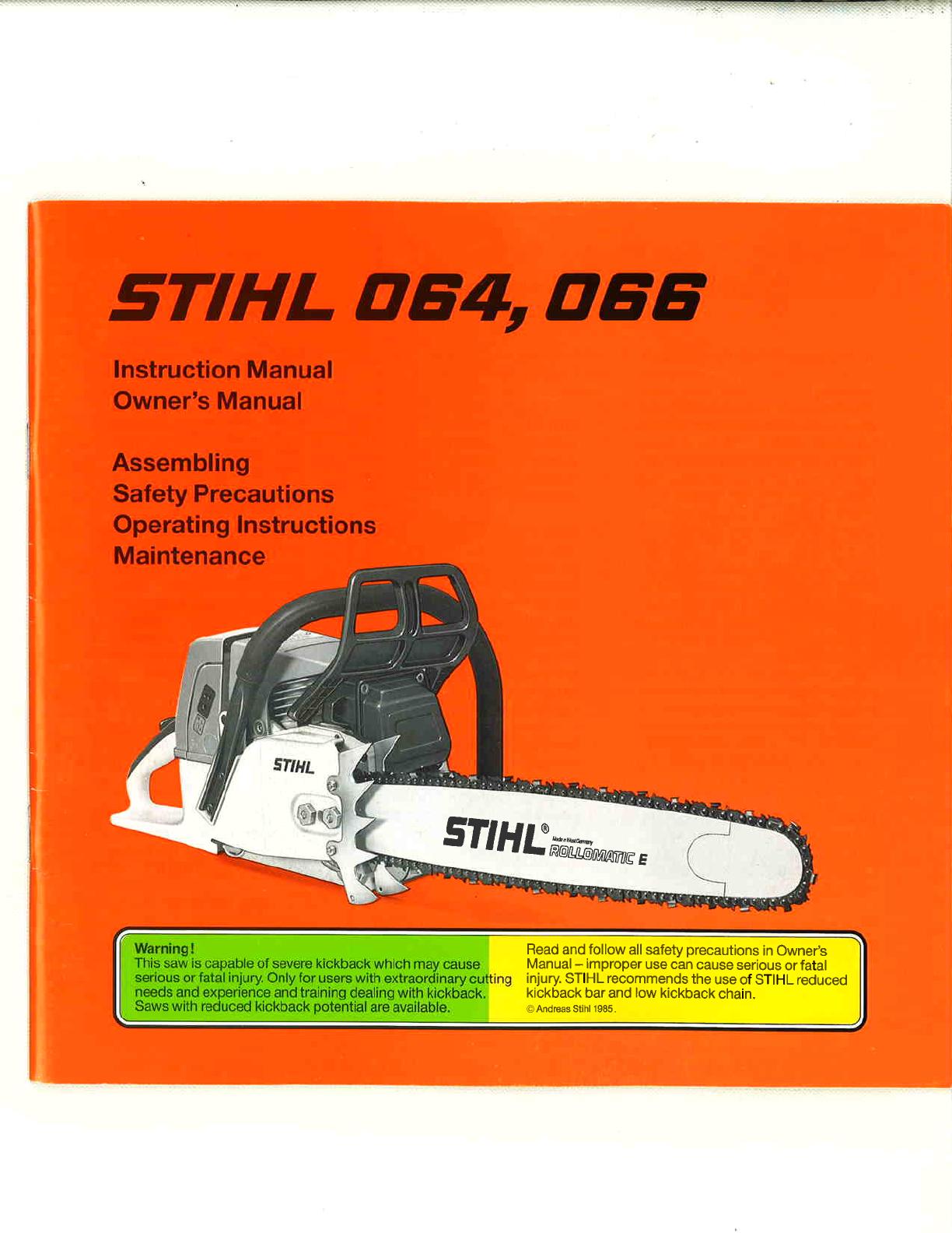 Stihl 064 066 chain saw service repair workshop manual download.
