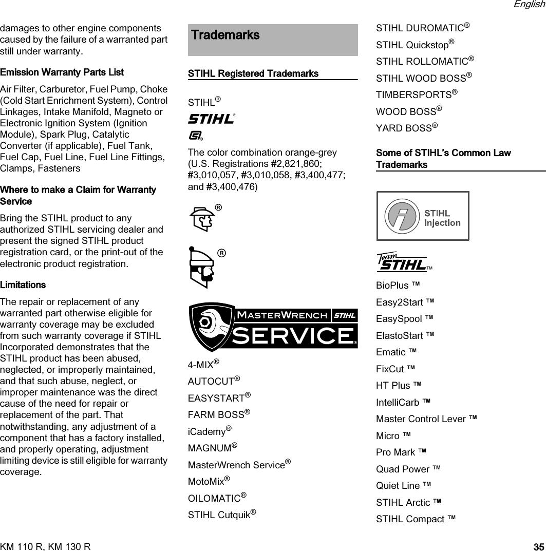Stihl Km 110 130 Instruction Manual R, R