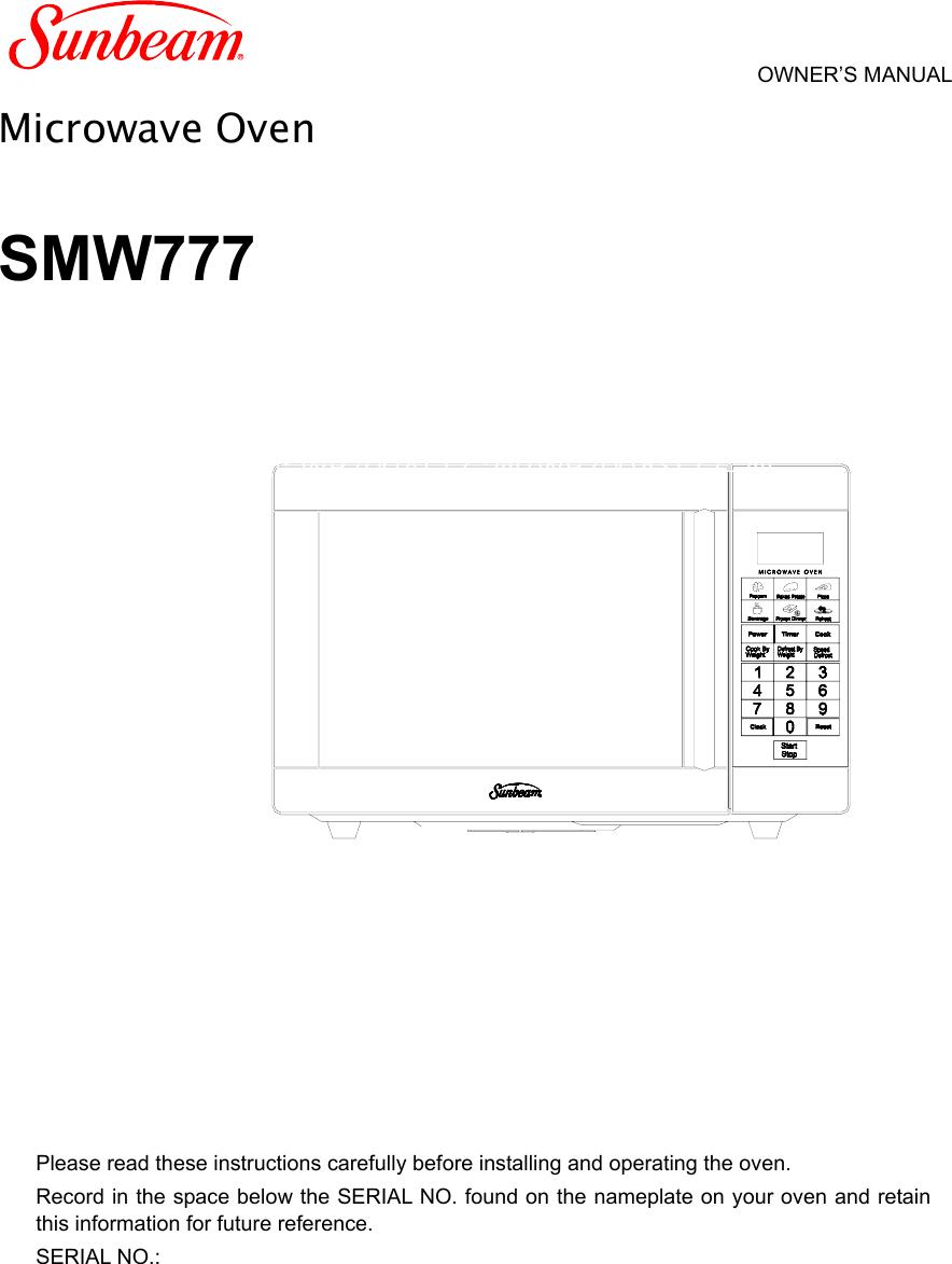 Microwave Sunbeam Wiring Diagram Electrical Diagrams For Dummies Smw777 Owners Manual Sun En Circuit