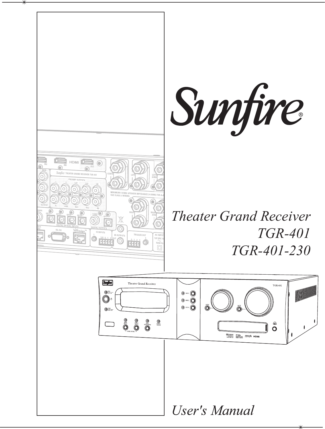Sunfire Theater Grand Receiver Tgr 401 230 Users Manual Microlab M 280 Circuit Diagram