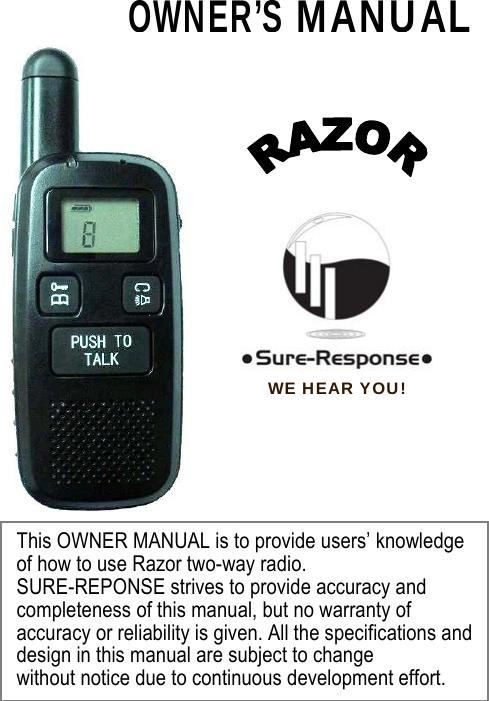 sure response razor two way radio user manual rh usermanual wiki RAZR Phone Manual Droid RAZR Phone Manual