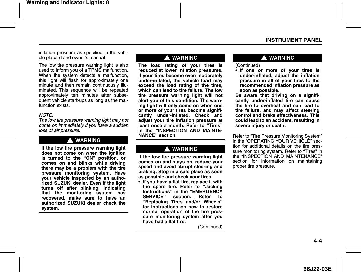 Suzuki 2008 Grand Vitara Owners Manual 15