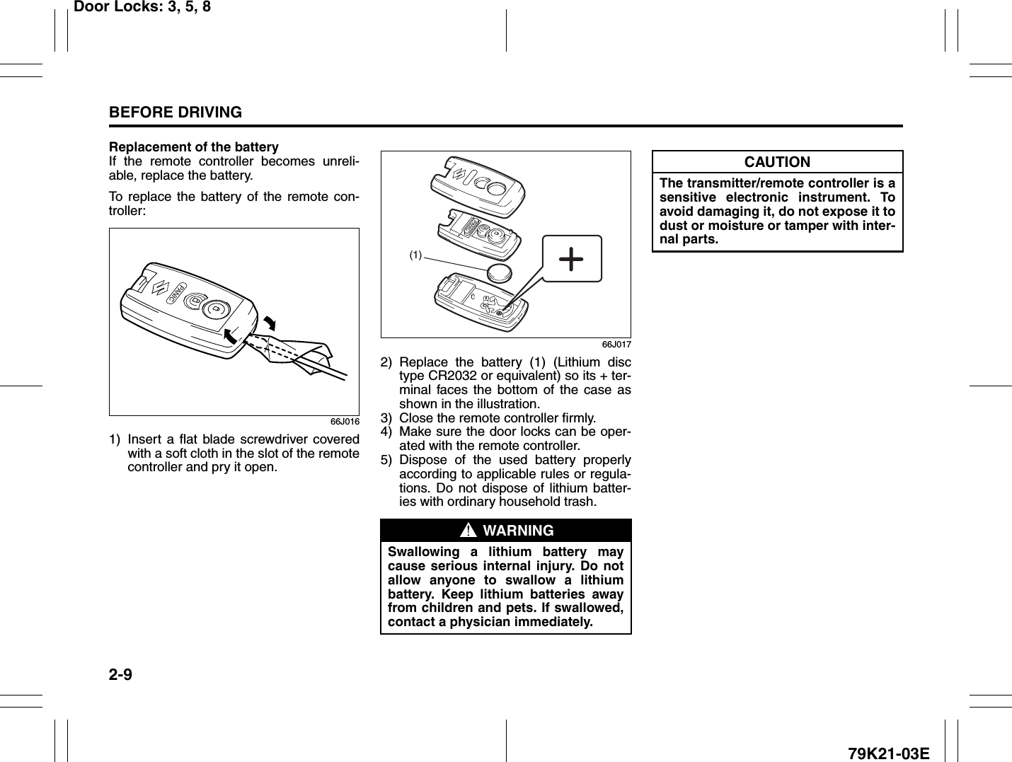Suzuki 2010 Grand Vitara Owners Manual 13