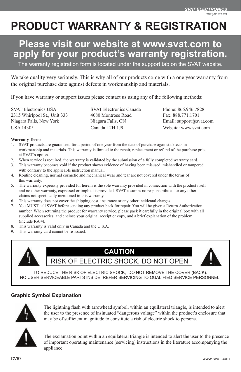 Svat Electronics Cv67 Users Manual
