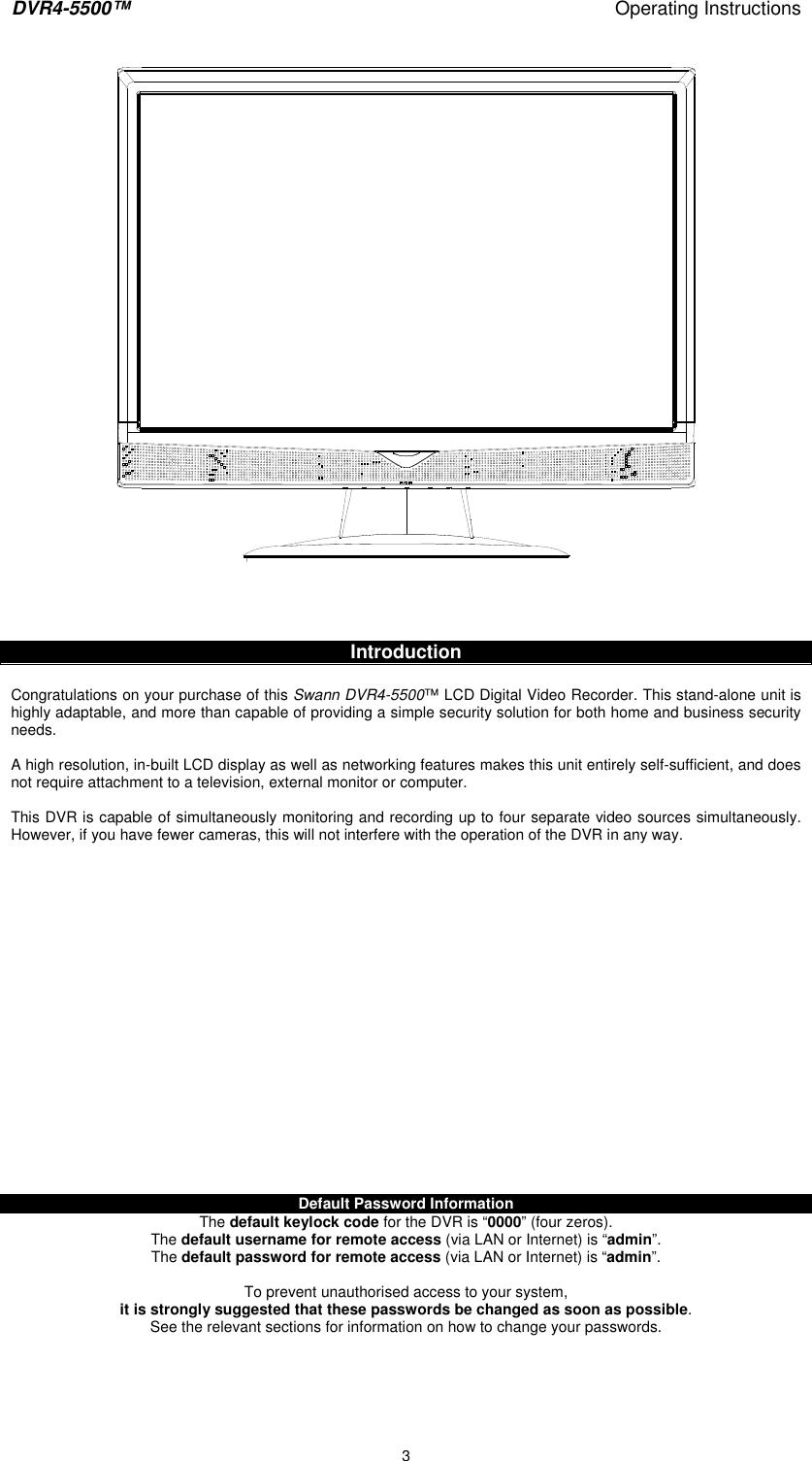 Swann Dvr4 5500 Users Manual LCD DVR
