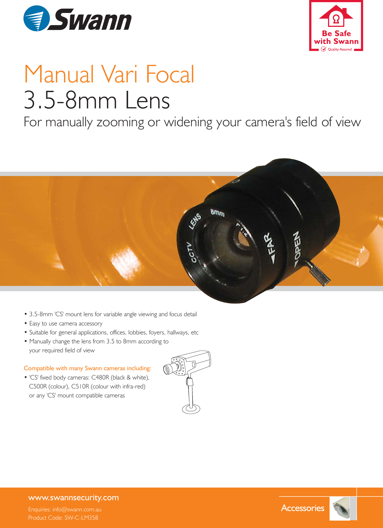 Swann Sw C Lm358 Users Manual Vari Focal 3 5 8mm Lens LM358_v3 qxp