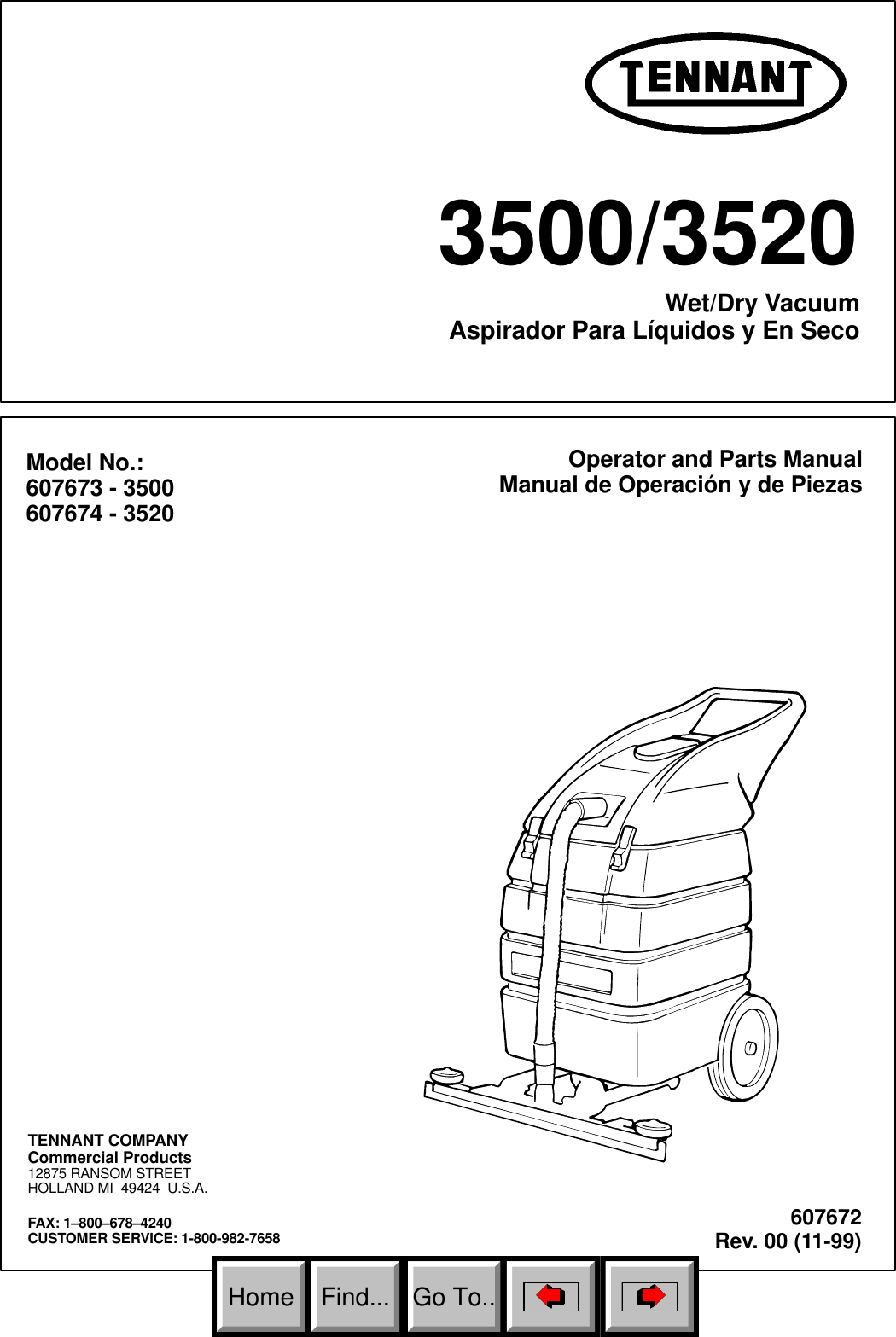 Ten 3500 3520 Parts List And Operator Manual 11 99 To 5 06 Tennant Wiring Diagram