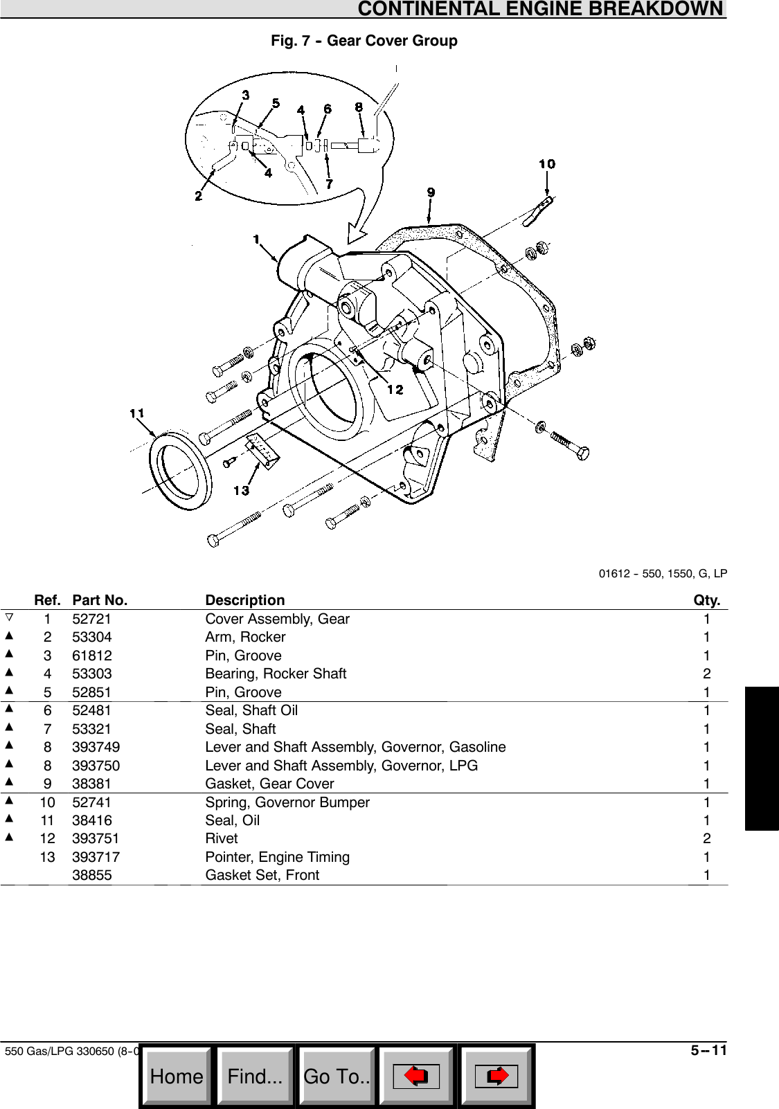 550 Gas/LPG NA Parts Manual Gas LPG Sn 6115 Up