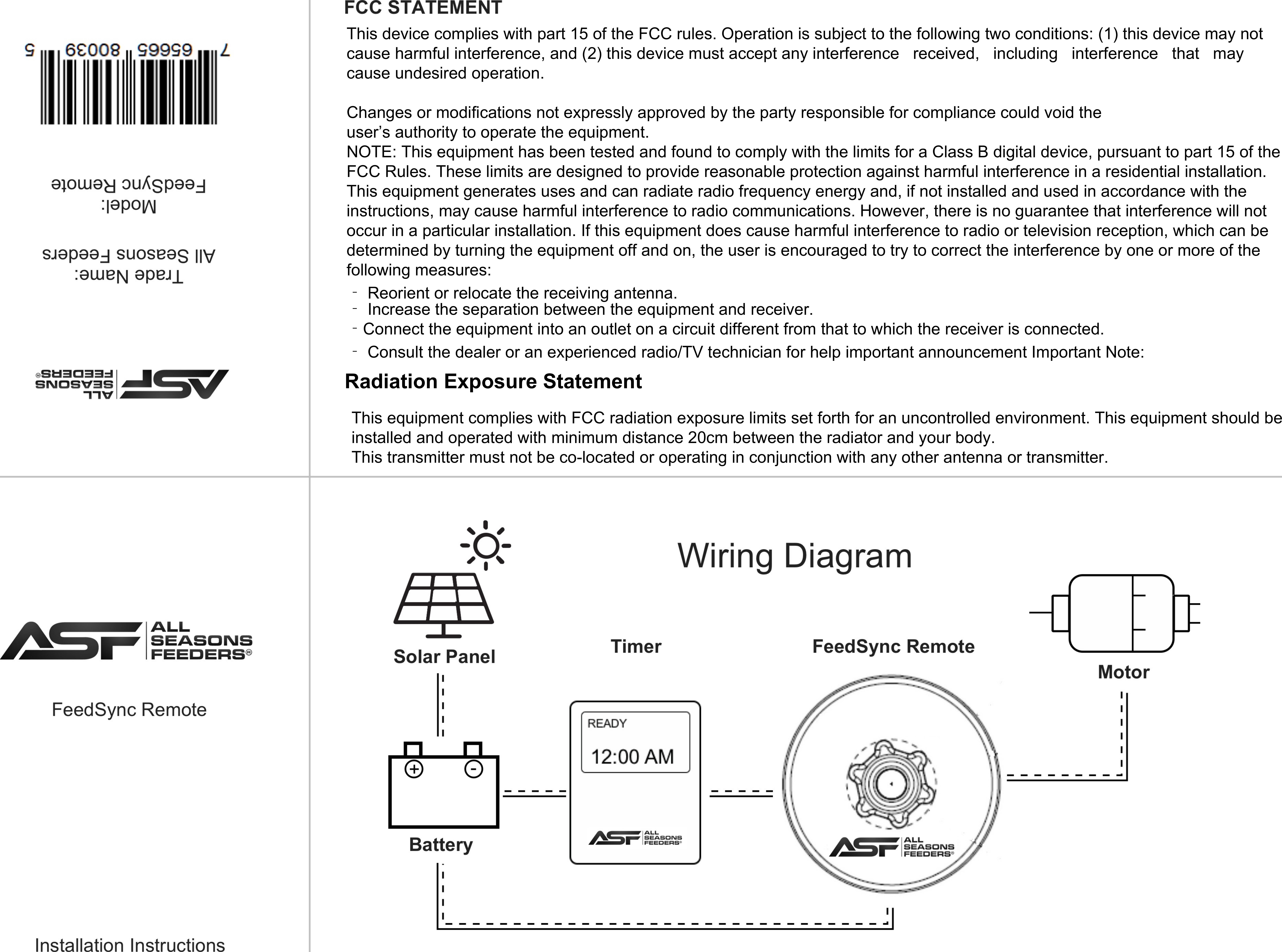 Swift Info Technology FSREMOTE All Seasons Feeders User Manual