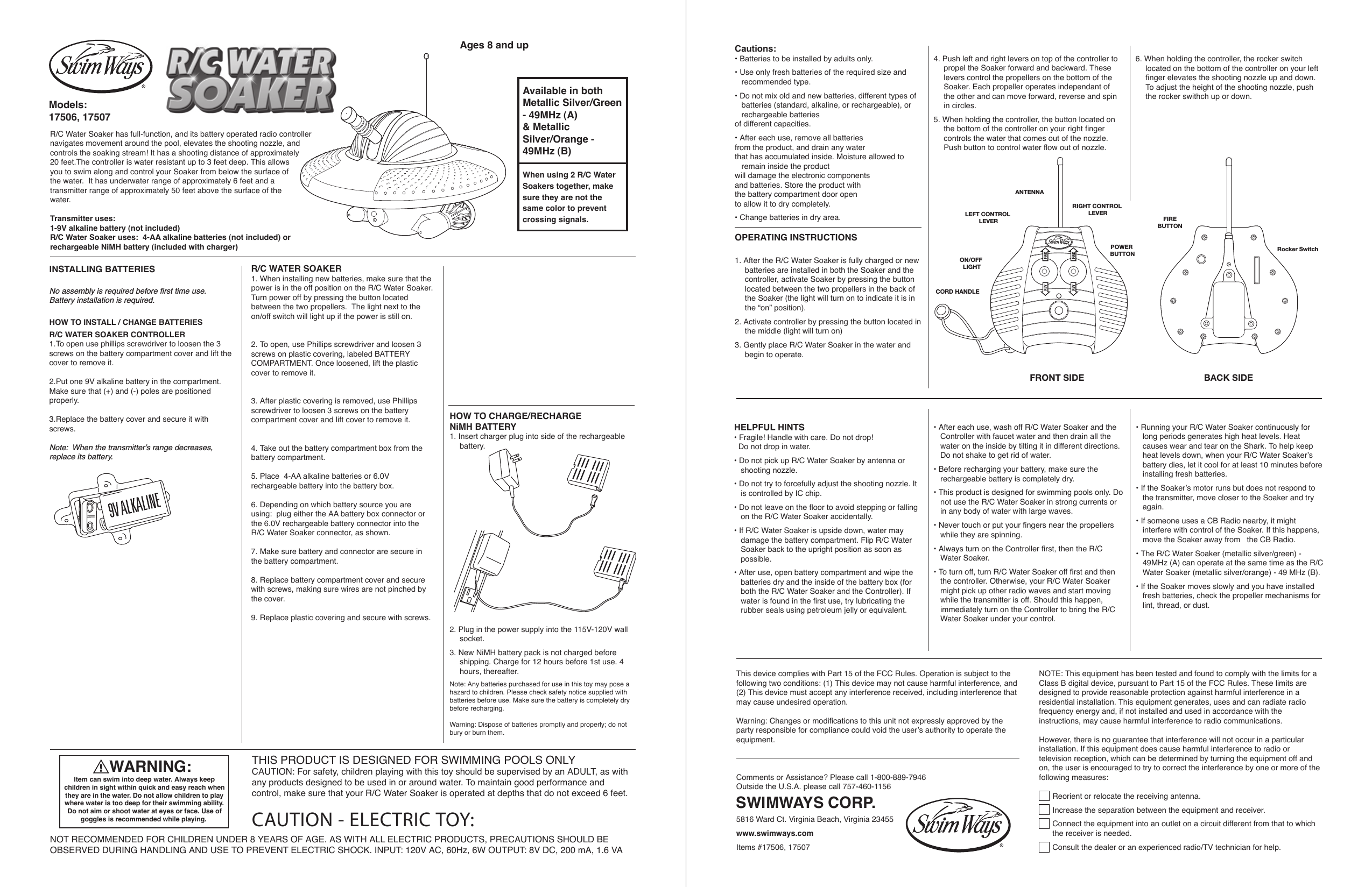 Please Check Out Nimhs New And >> Swimways 17506a07bt R C Soaker User Manual Users Manual