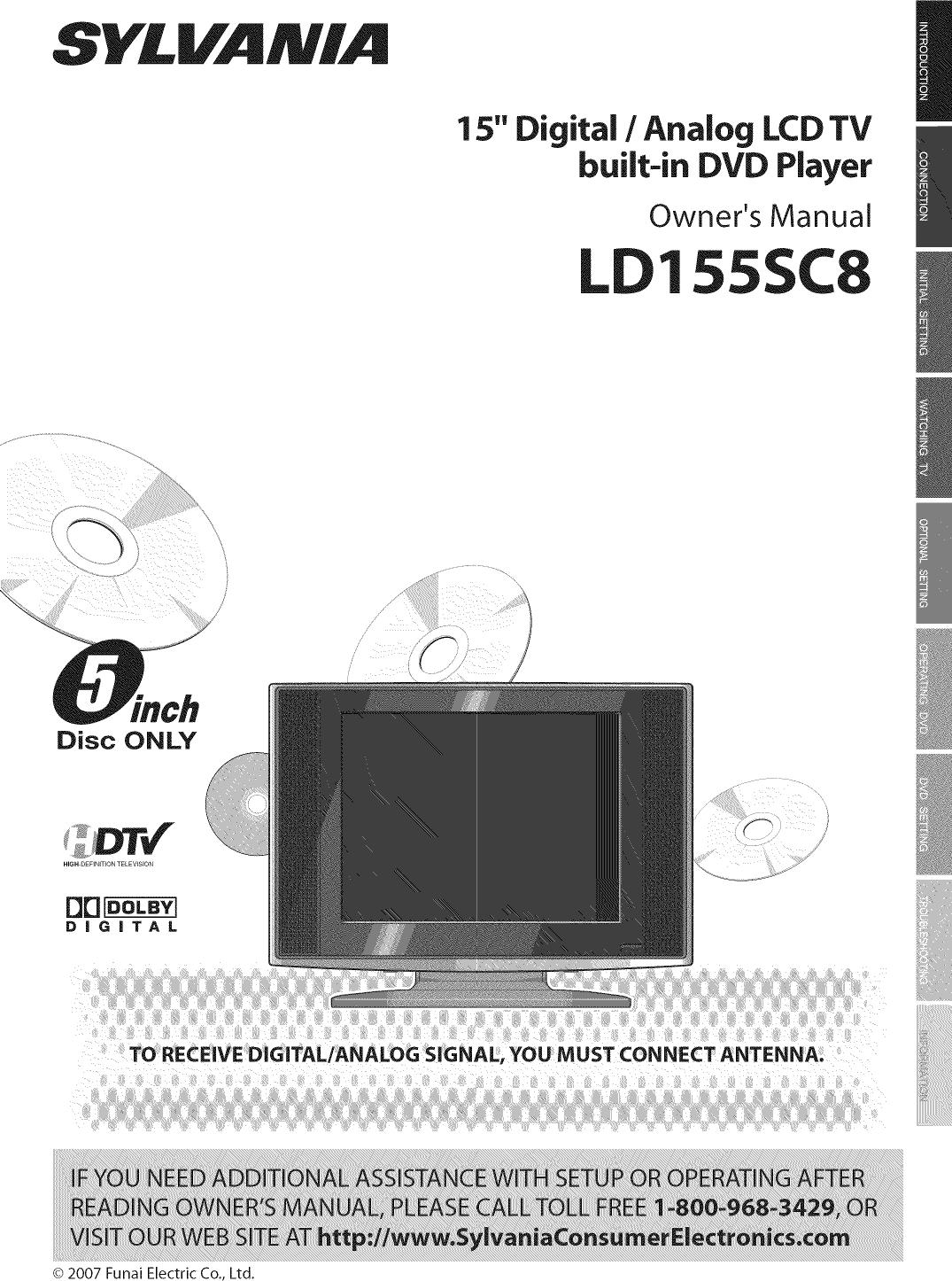 sylvania ld155sc8 user manual lcd television dvd manuals and guides rh usermanual wiki Funai Review Funai DVD Player