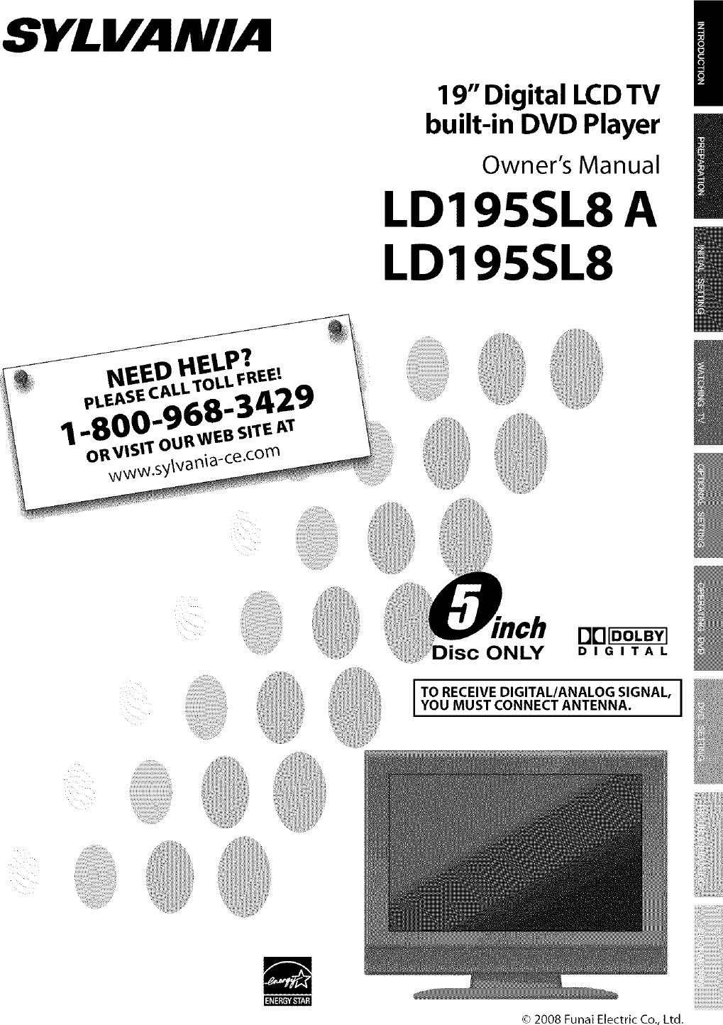 sylvania ld195sl8 user manual lcd television dvd manuals and guides rh usermanual wiki Funai DVD Recorder Funai SV2000