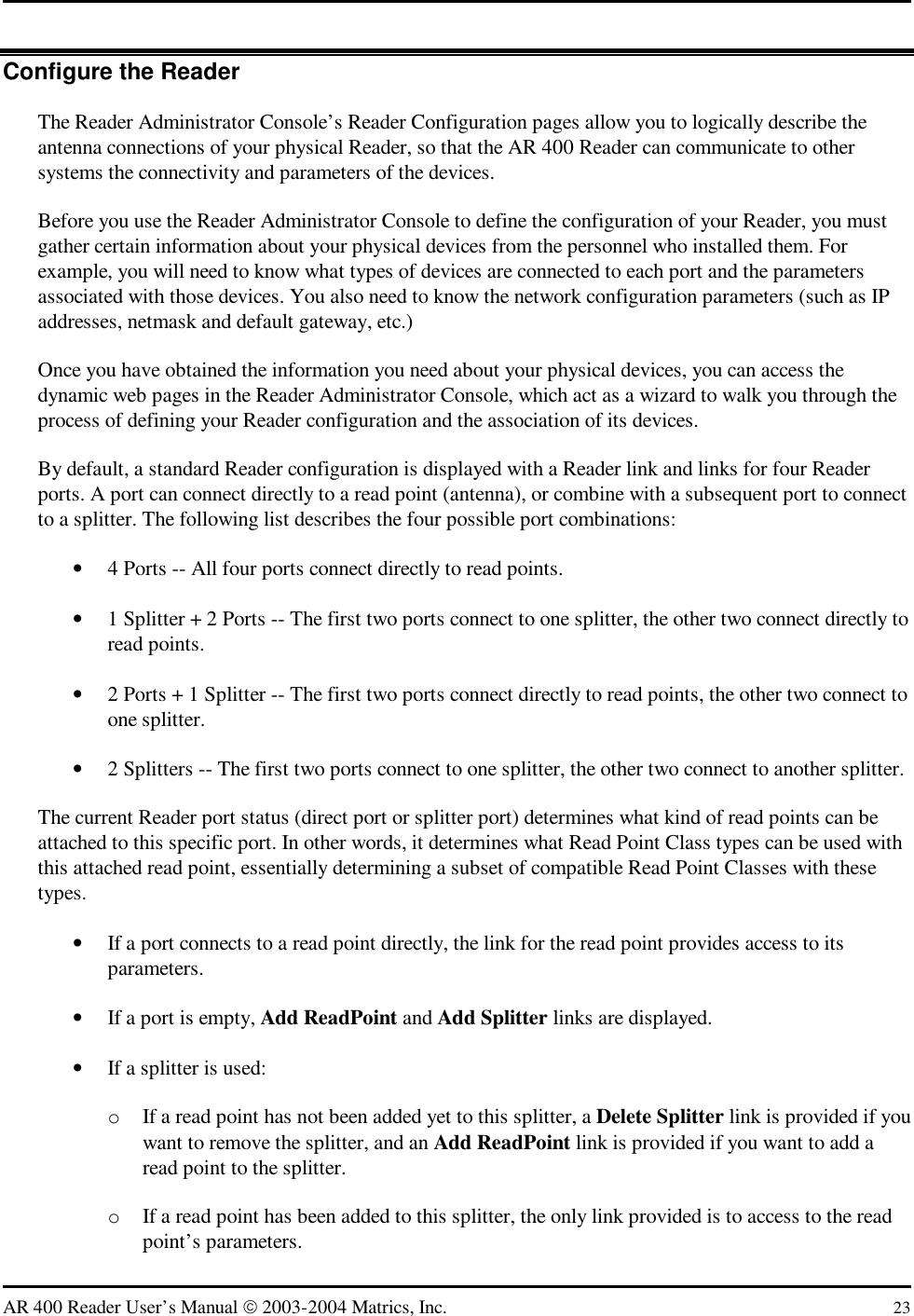 Symbol Technologies AR400US FHSS RFID Reader User Manual AR