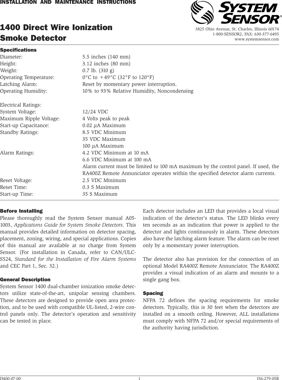 System Sensor 1400 Users Manual I56 279 05r 2wire Smoke Detector Wiring Diagram
