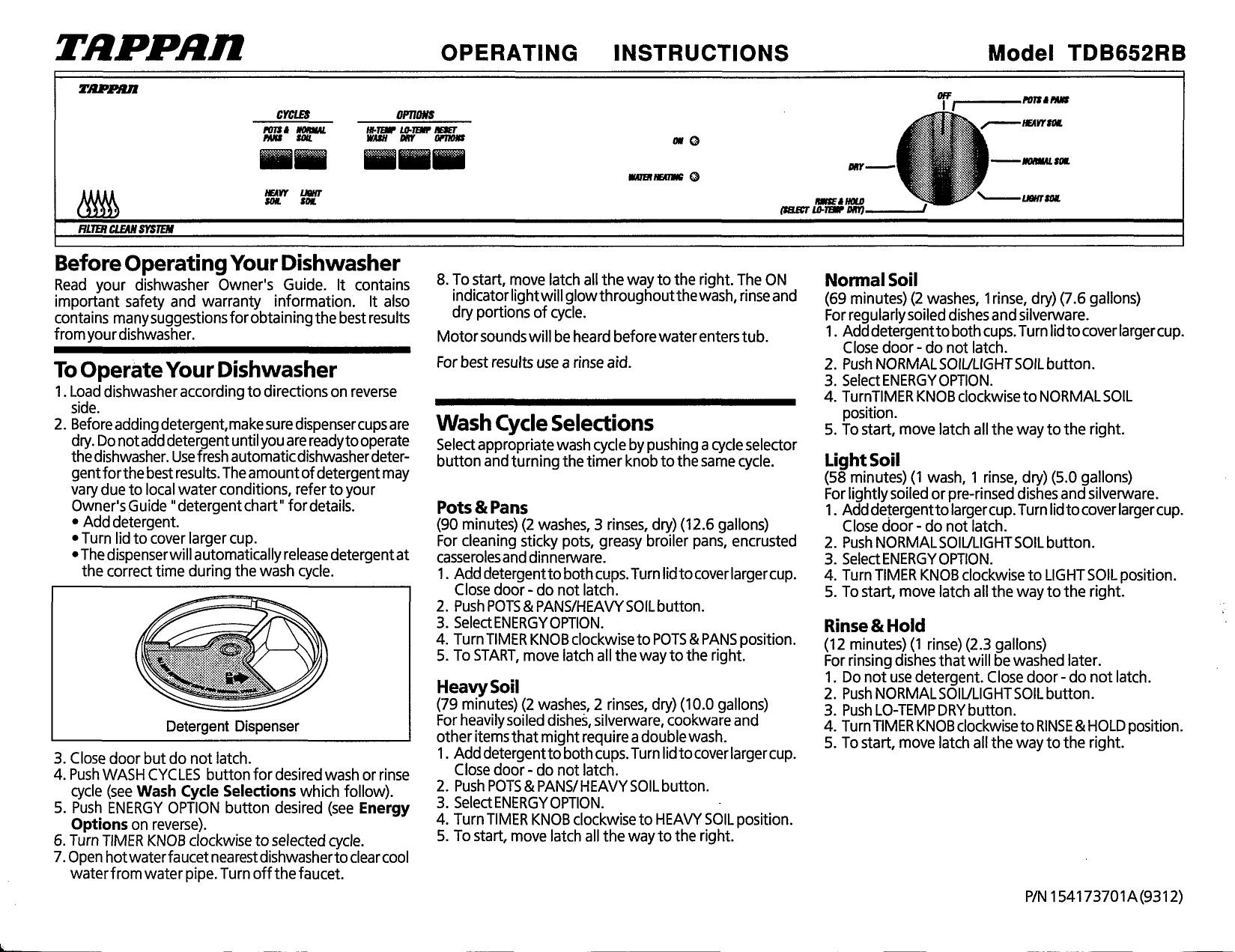 tappan dishwasher manual l0812303 rh usermanual wiki User Manual User Guide Template