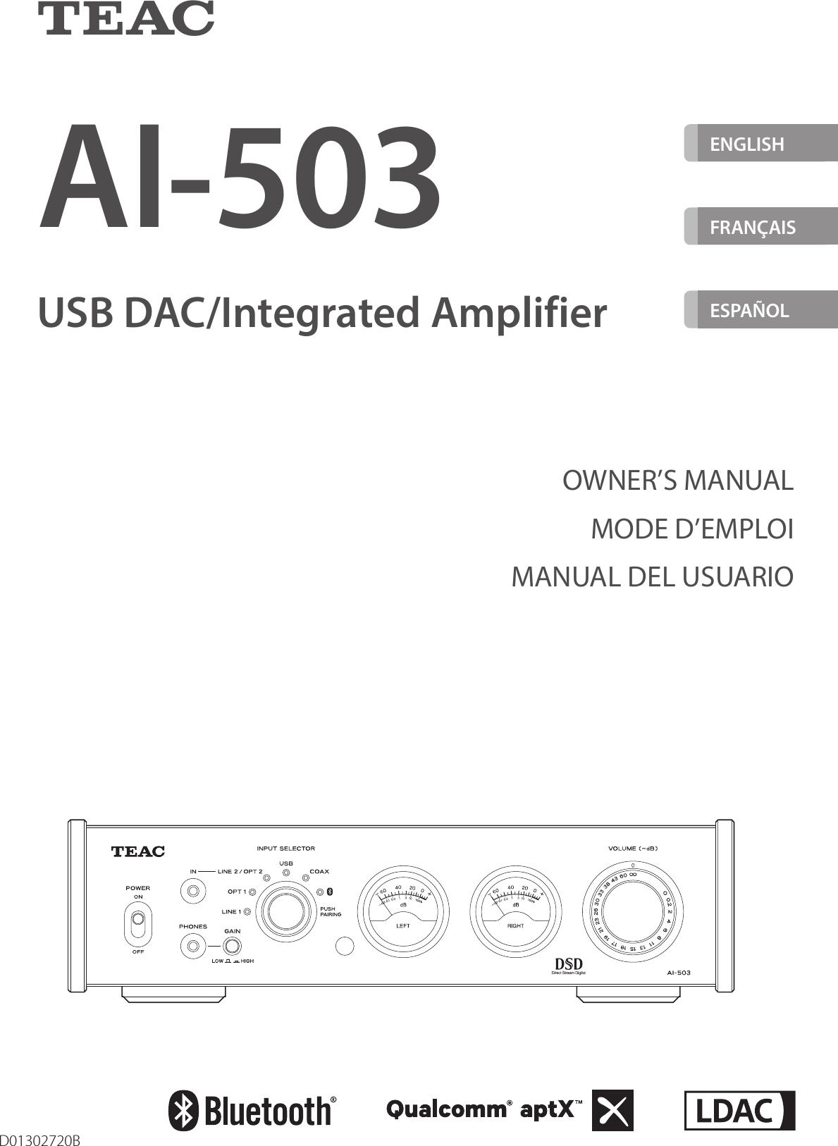 teac ai503 usb dac integrated amplifier user manual rh usermanual wiki Online User Guide teac tv user guide