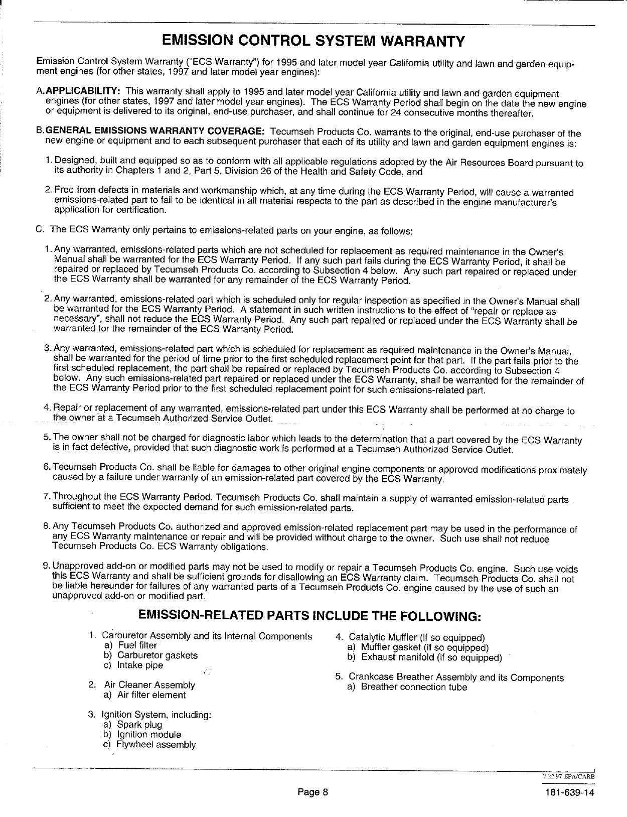 Tecumseh Engine Manual L0601265 Carburetor Parts Diagram Related Images Page 8 Of