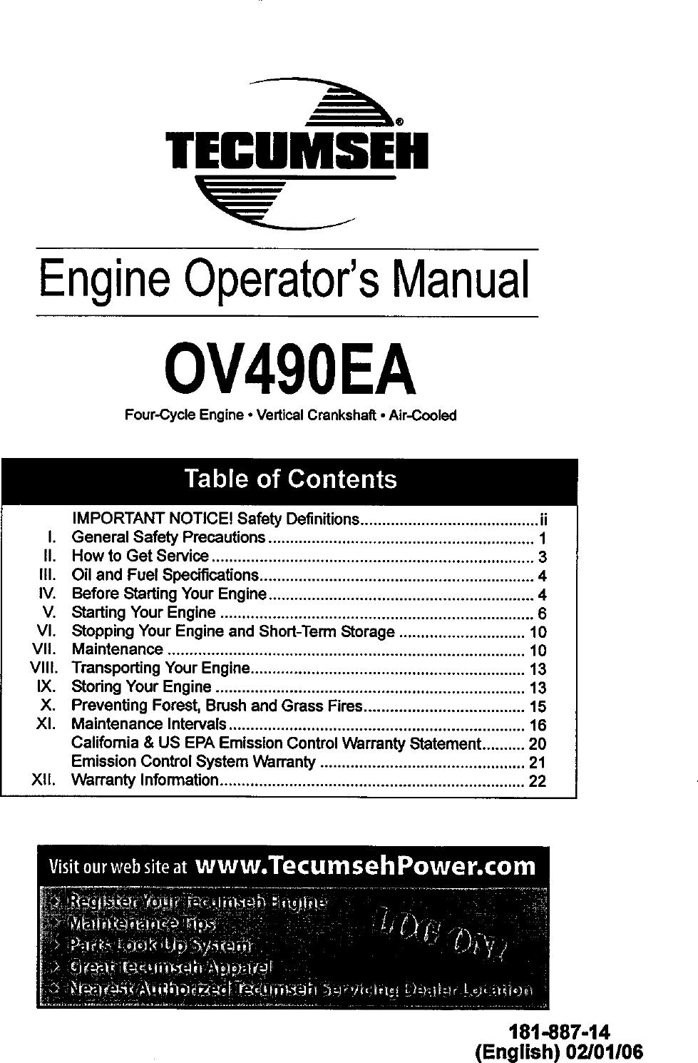 TECUMSEH Engine Manual L0611106