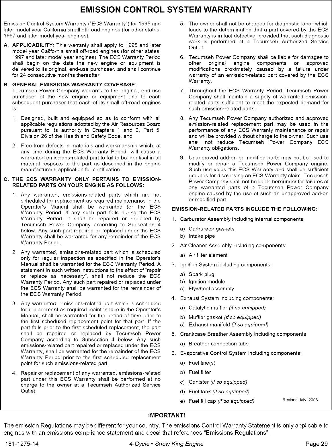TECUMSEH Engine Manual L0701151