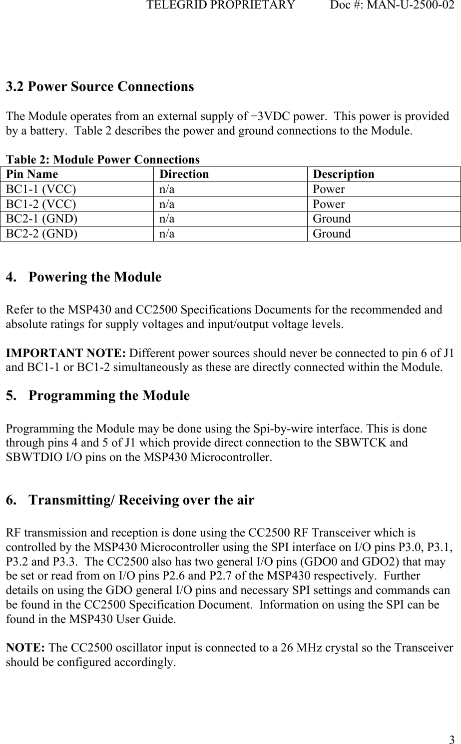 TELEGRID Technologies W2500 RF Module CCA-SA-W2500-02 User Manual