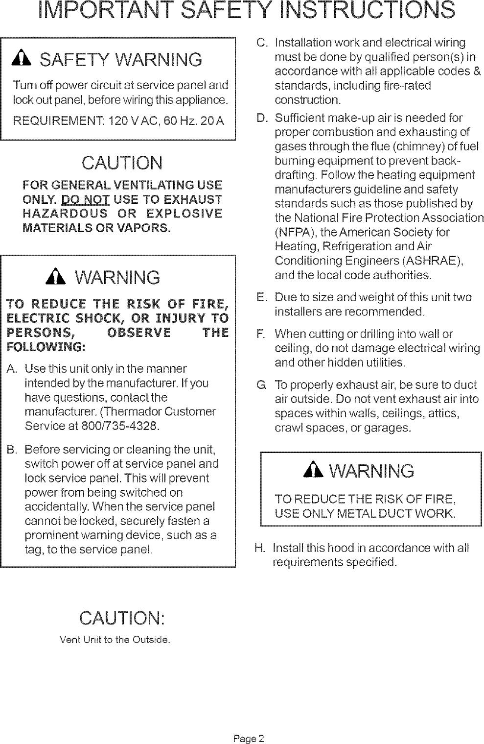 THERMADOR Range Hood Manual L0512045