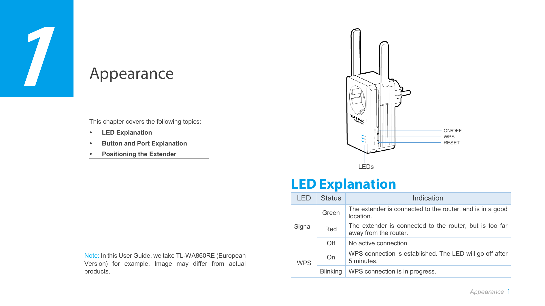 Tp Link Technologies Wa860rev2 300mbps Wi Fi Range Extender With Tl Wa860re Wifi Ac Passthrough Appearance 1 This Chapter Covers The Following Topics Led Explanation Button And