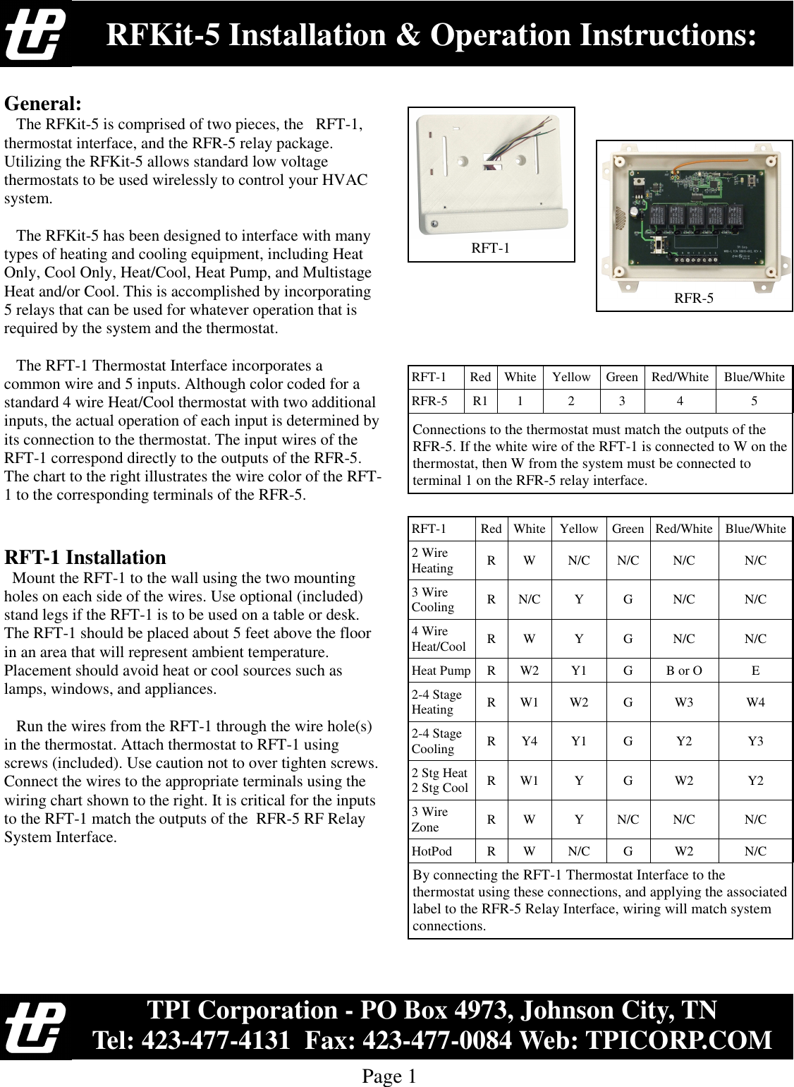 TPI RFKIT-5 RFT-1 and RFR-5 P Kit R-C-R1 1-2-3-4-5 Connection