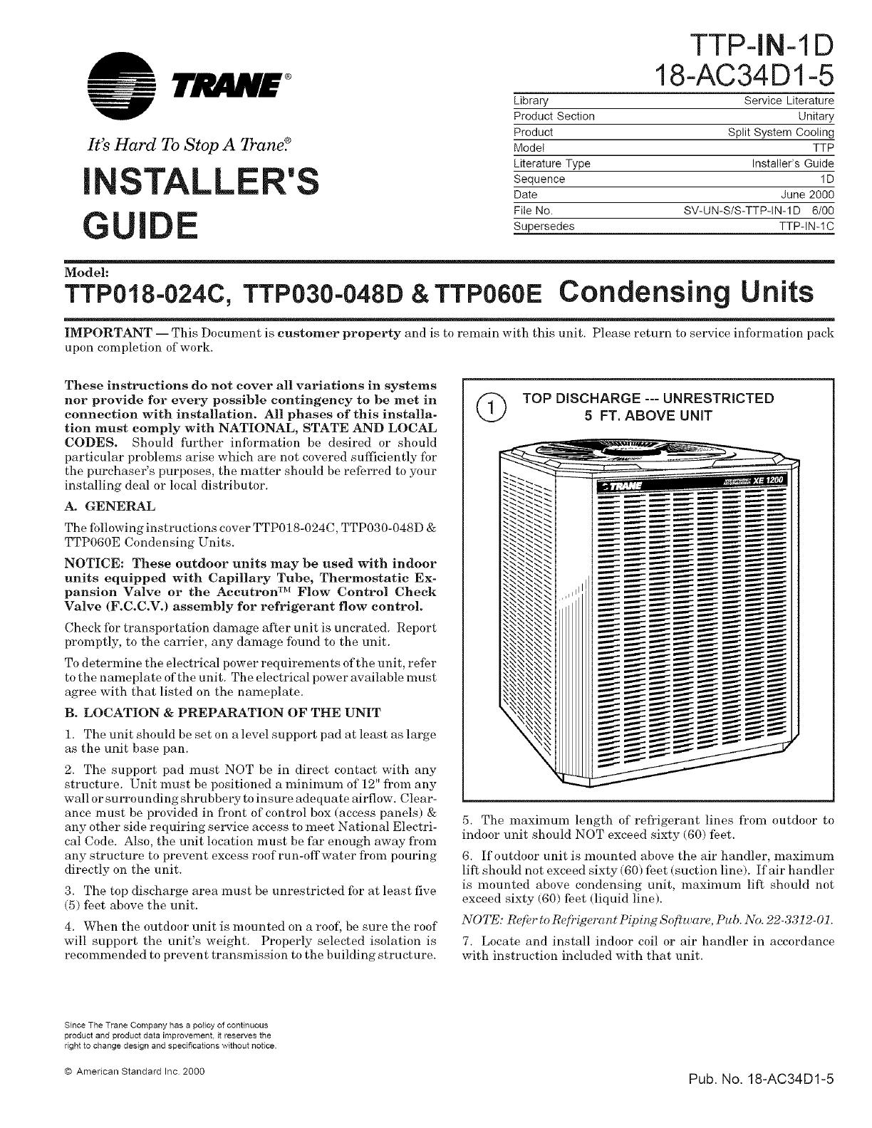 trane air conditioner heat pump outside unit manual l0801741 rh usermanual wiki Trane Service Manel Mechanical Contractor Servicing Trane