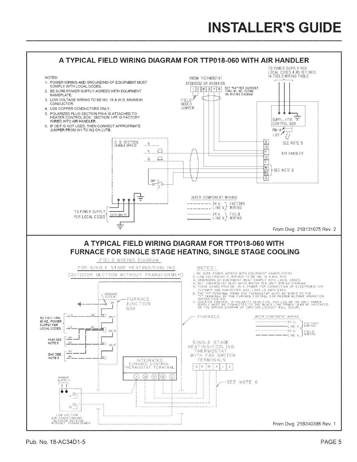 Trane Air Conditioner Heat Pumpoutside Unit Manual L0801741 Diagram Handler Also In Addition Installers Guide A Typical Field Wiring For Ttp018 060 With