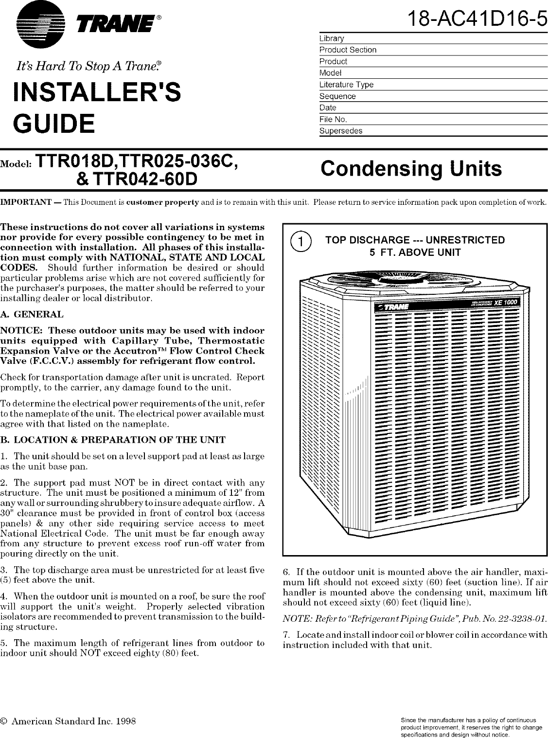 trane air conditioner installation manual