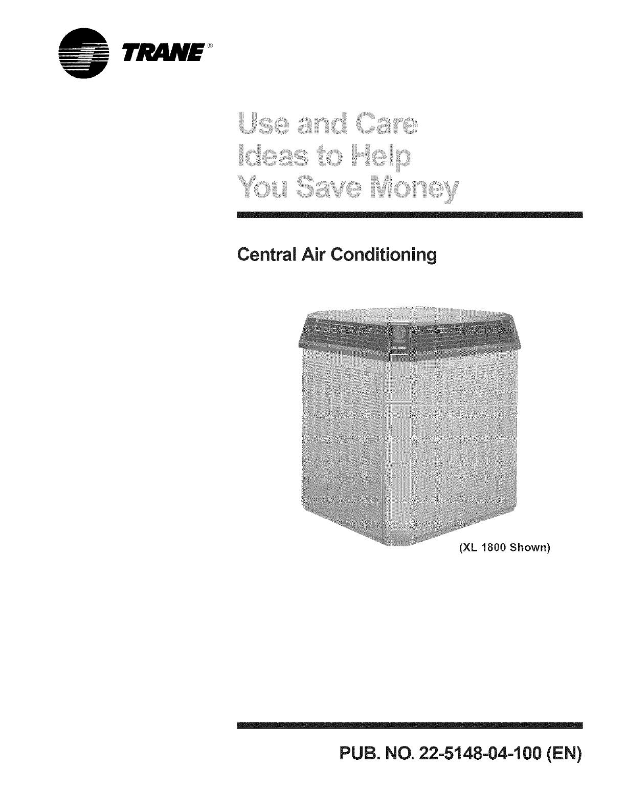 TRANE Air Conditioner/heat Pump(outside Unit) Manual L0801901 on