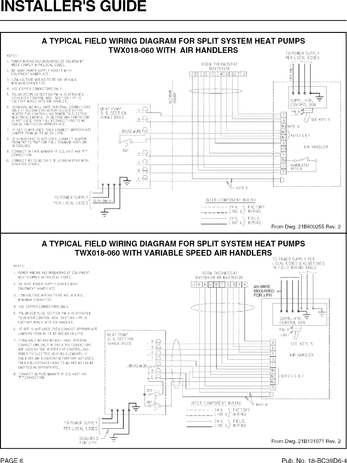 Trane Air Conditioner Heat Pumpoutside Unit Manual L0802054 Split System Pump Wiring Diagram Page 6 Of 8