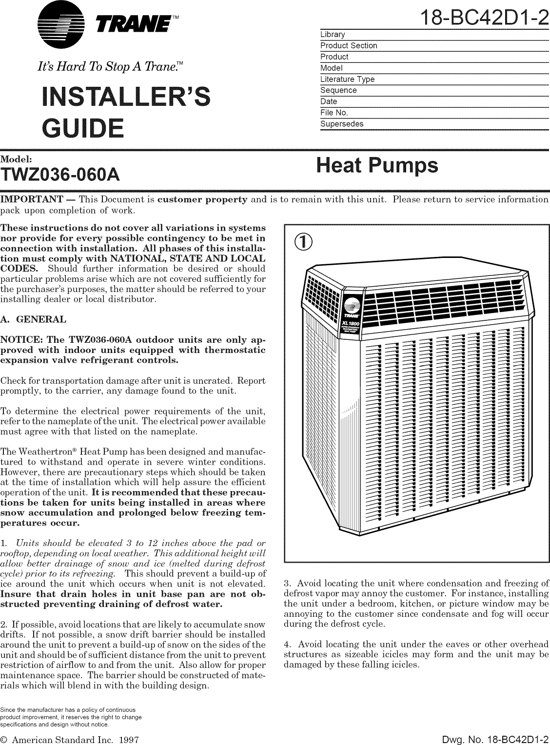 Trane Air Conditioner Heat Pump Outside Unit Manual L0810502