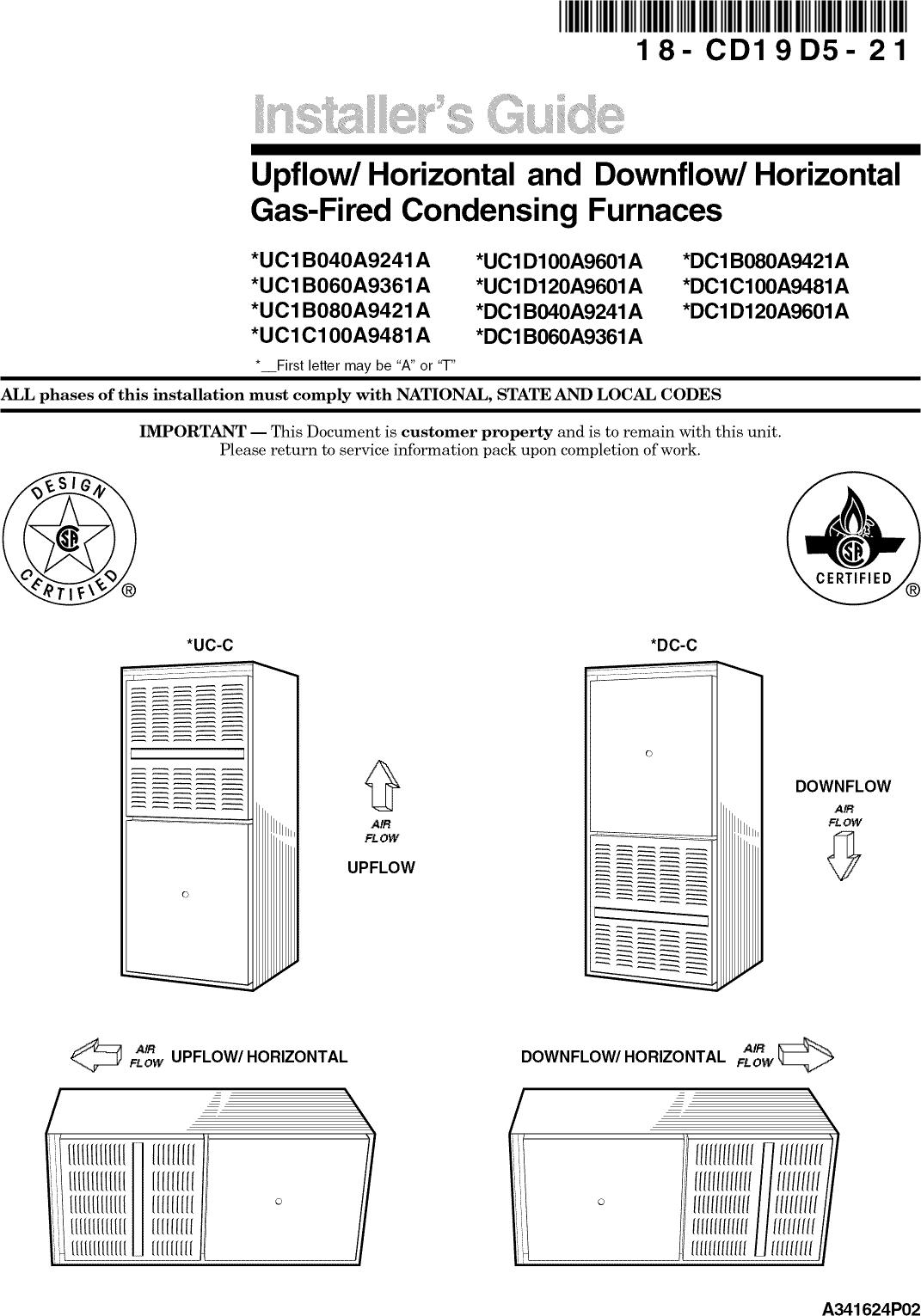 TRANE Furnace/Heater, Gas Manual L0902560
