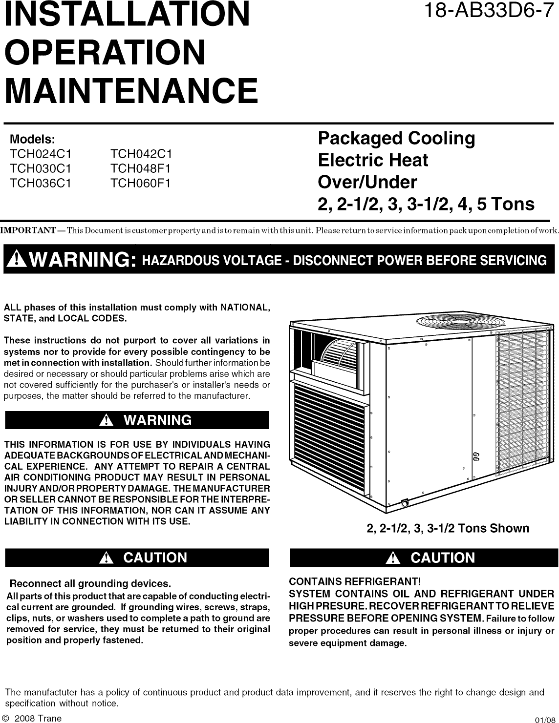 TRANE Package Units(both Units Combined) Manual L0903057