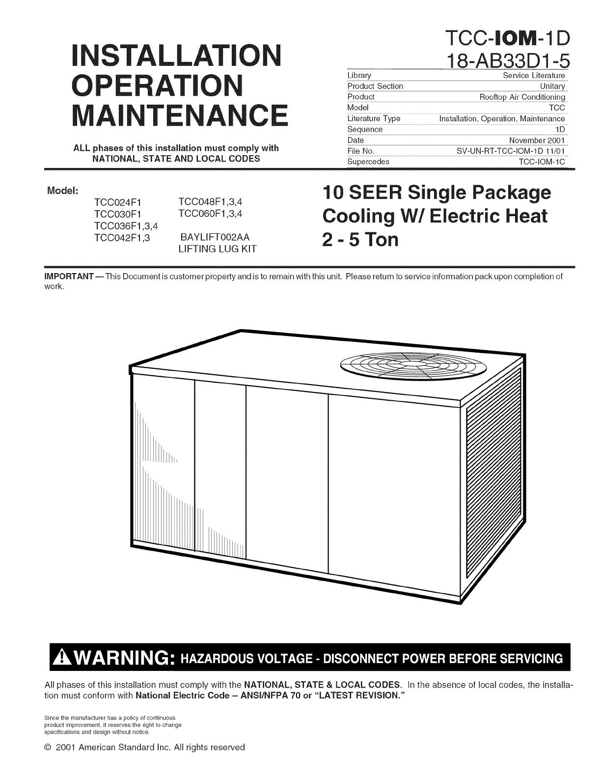 trane package units both units combined manual l0903219 rh usermanual wiki