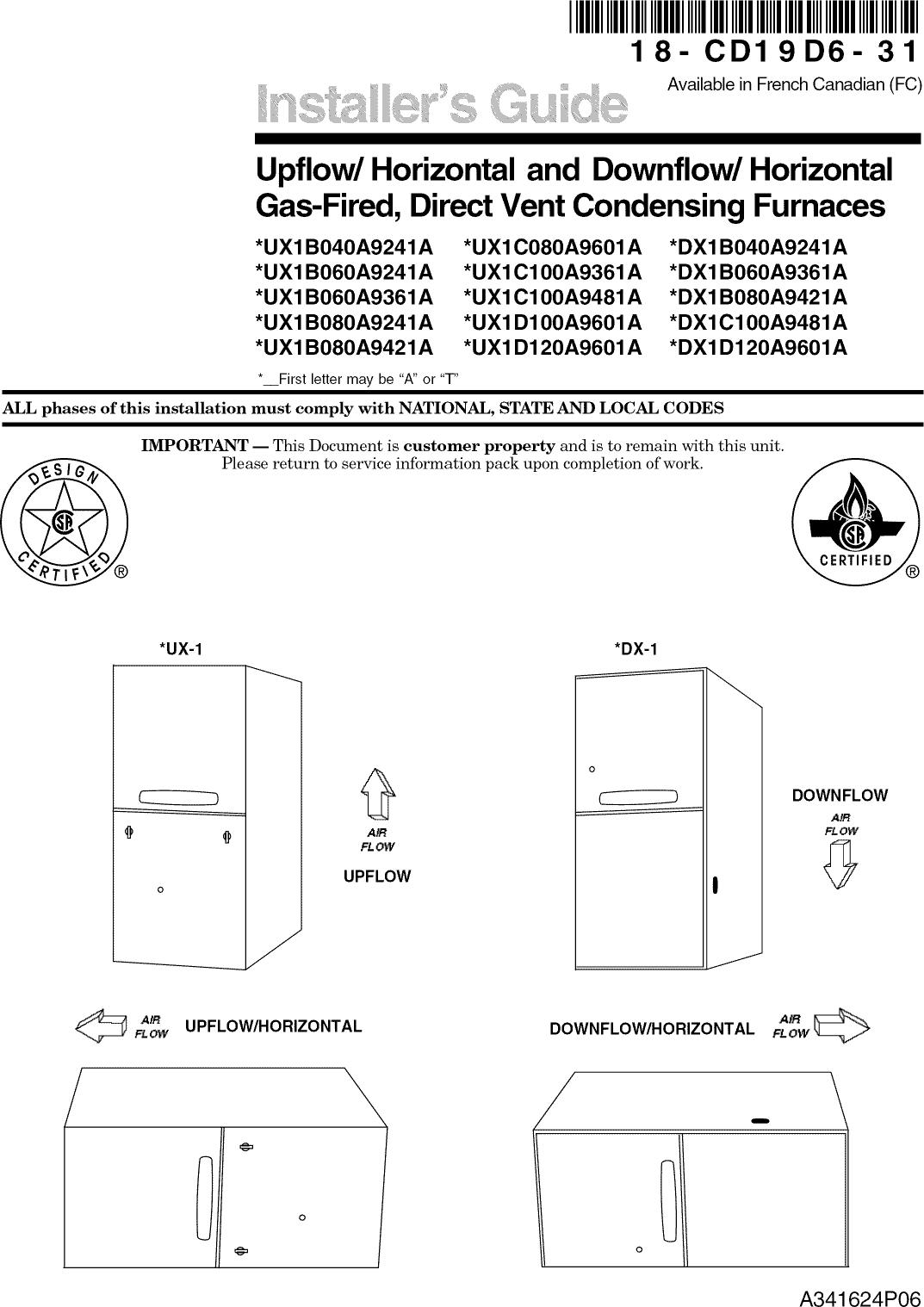 TRANE Furnace/Heater, Gas Manual L0903224