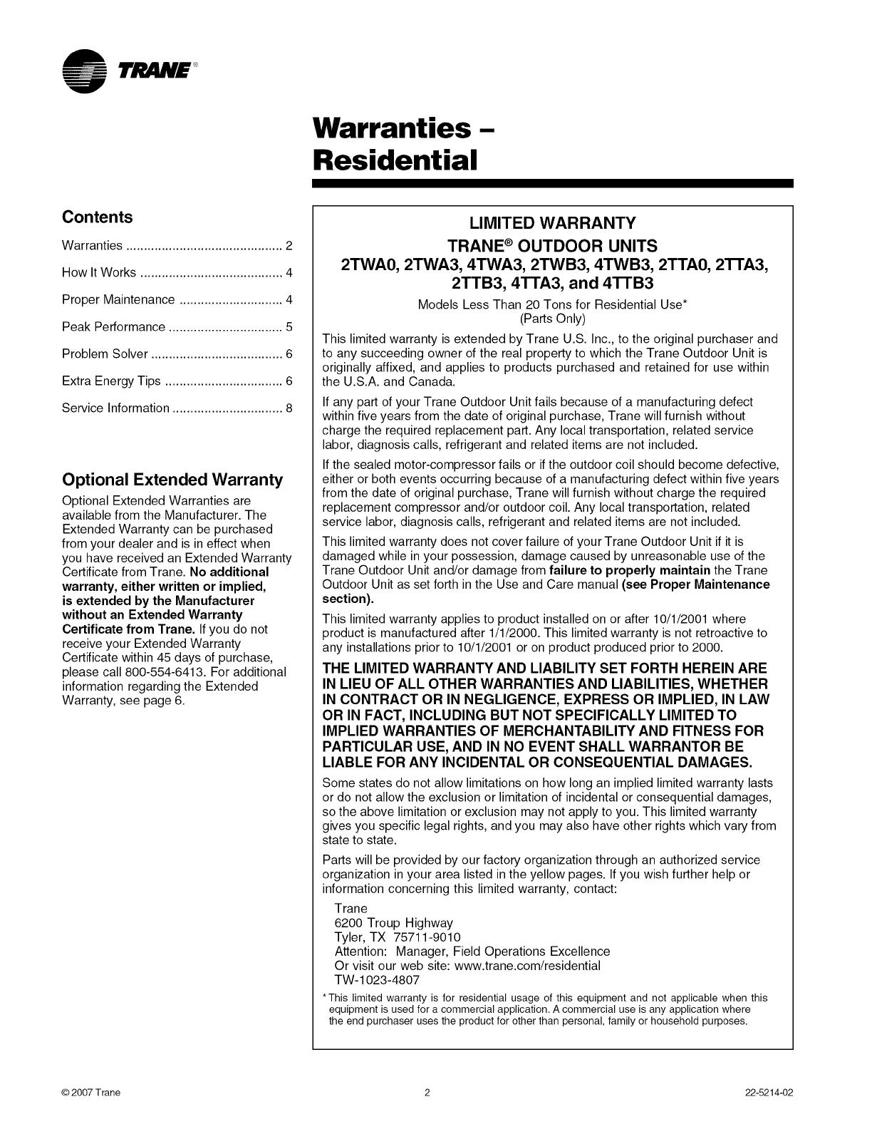 TRANE Air Conditioner/heat Pump(outside Unit) Manual L0903506