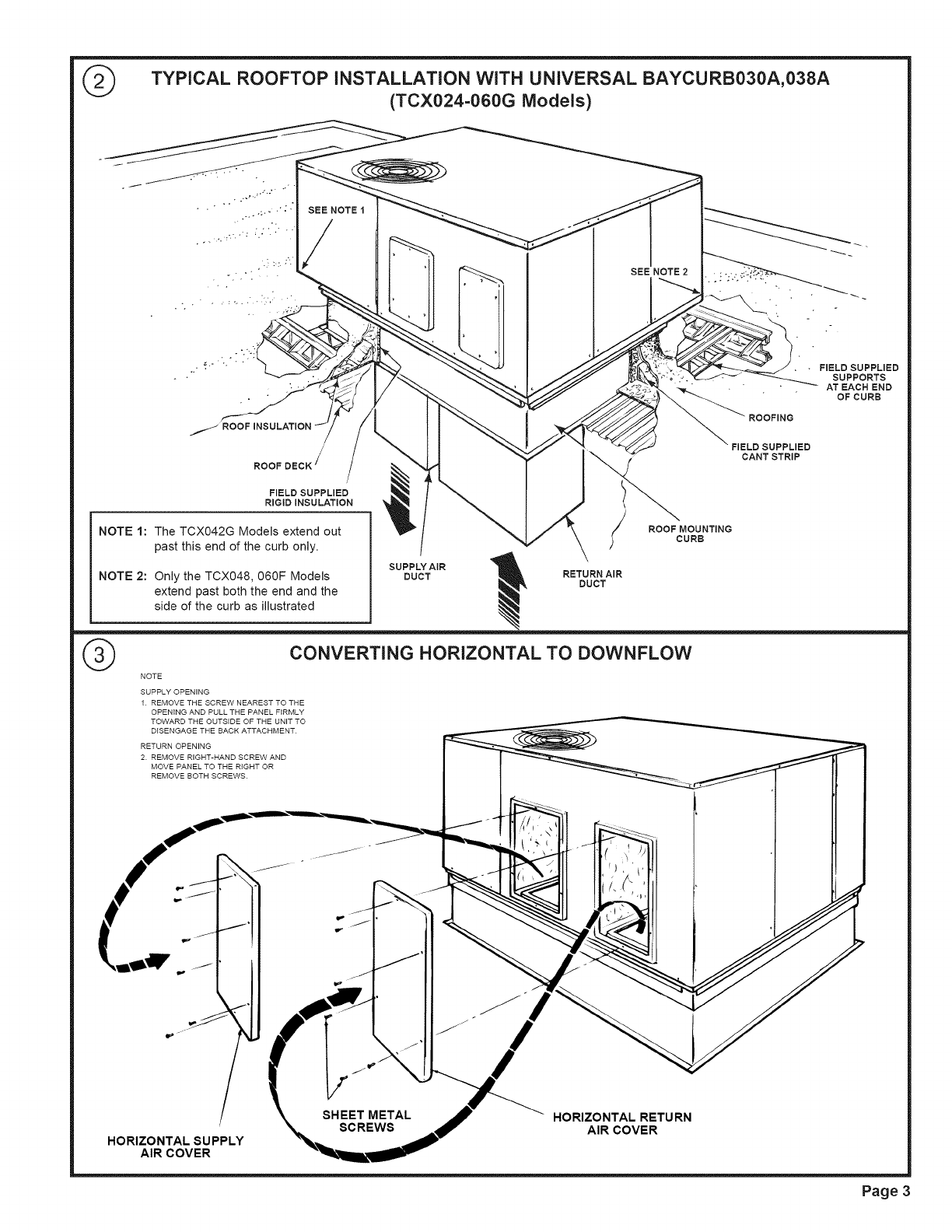 trane package units both units bined manual l0904650 Trane Furnace Wiring Diagram typical rooftop installation with universal baycurb030a 038a