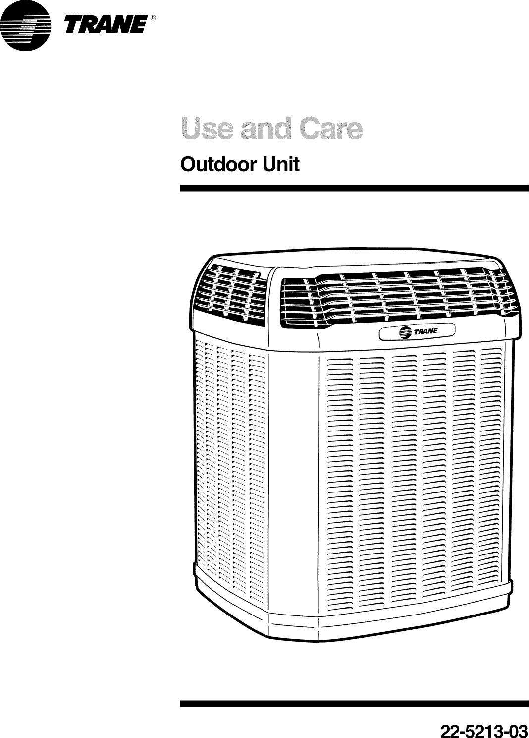 Trane Air Conditioner Heat Pump Outside Unit Manual L0904653