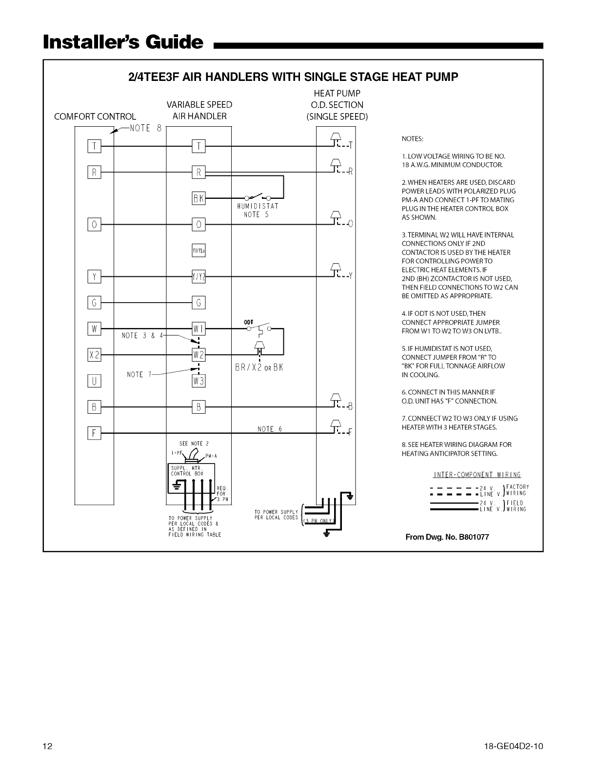 Trane Air Handler Indoor Blowerevap Manual L0905018 Low Voltage Wiring Guide Installers