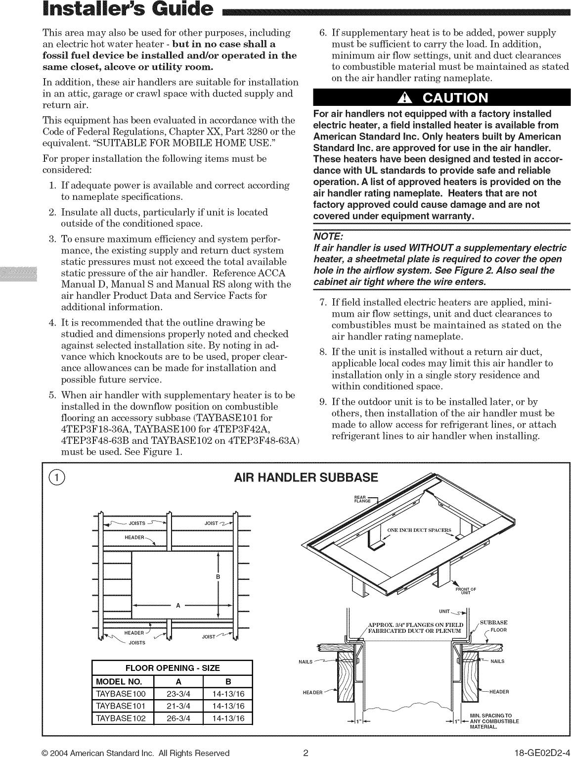 American standard air handler manual array trane air handler indoor blower u0026evap manual l0905036 rh usermanual wiki fandeluxe Image collections