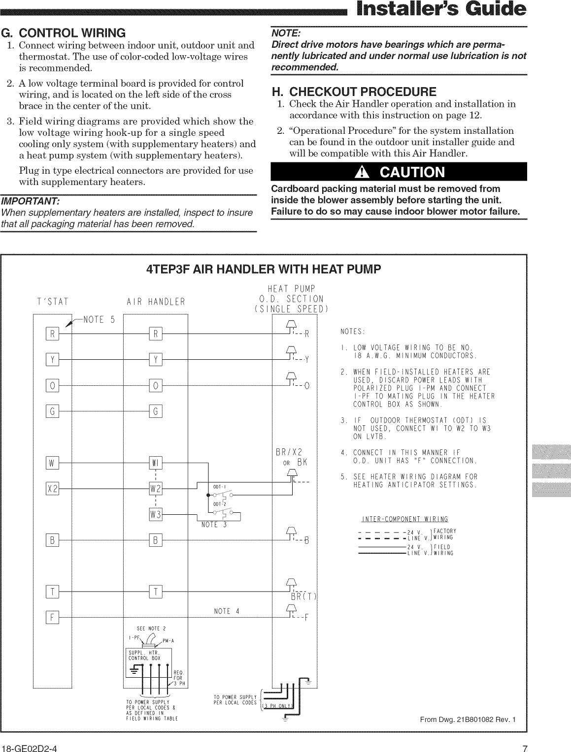 TRANE Air Handler (indoor Blower&evap) Manual L0905036