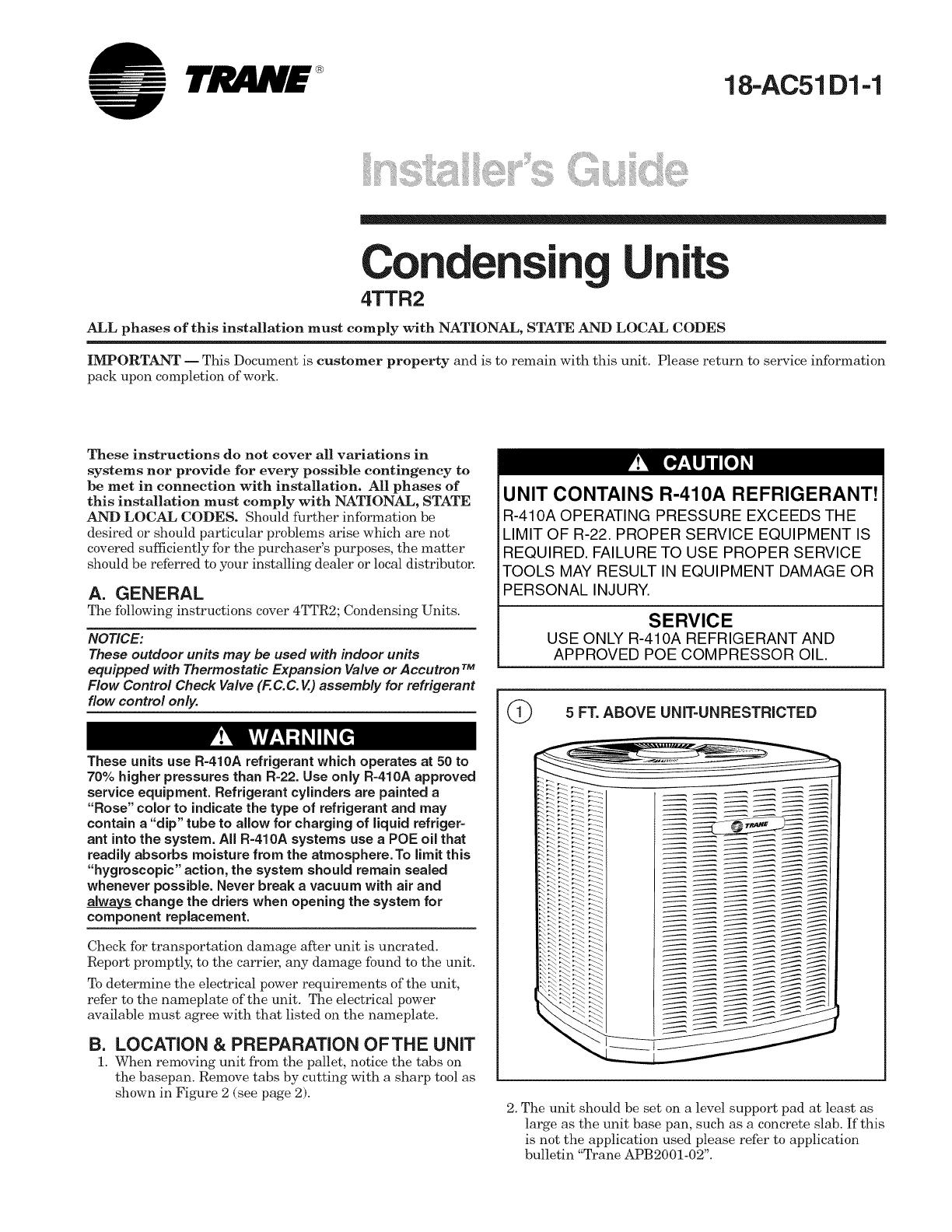TRANE Air Conditioner/heat Pump(outside Unit) Manual L0905057