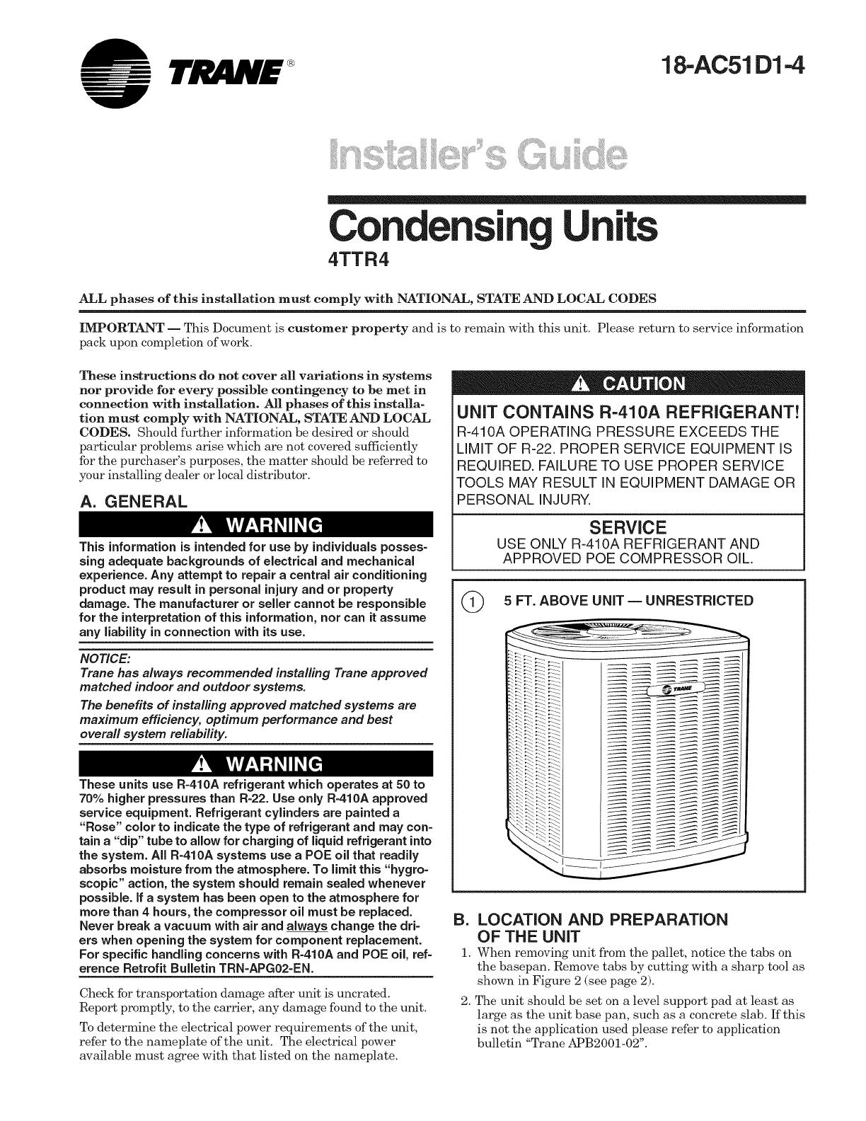 TRANE Air Conditioner/heat Pump(outside Unit) Manual L0905060